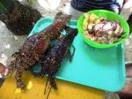 Lobster and shellfish.