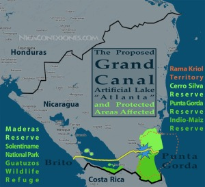 Nicaragua canal map
