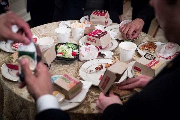 donald trump fast food buffet clemson salad