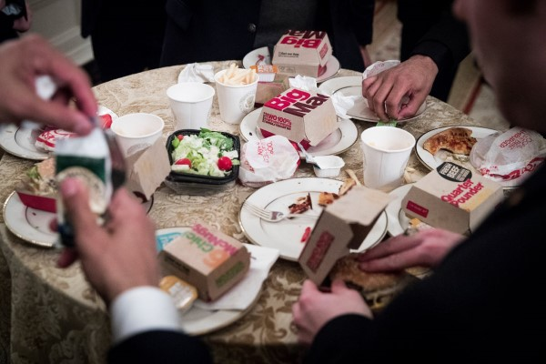 donald trump fast food buffet clemson salad